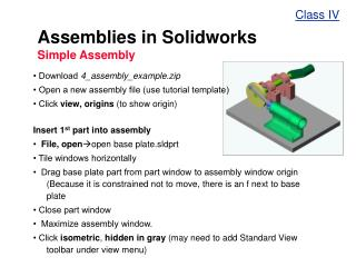 Assemblies in Solidworks  Simple Assembly