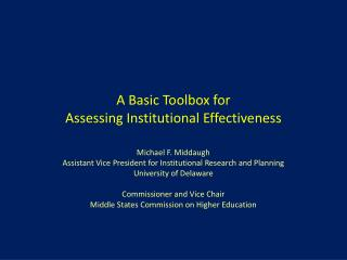 A Basic Toolbox for Assessing Institutional Effectiveness