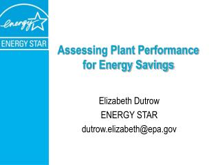 Assessing Plant Performance for Energy Savings