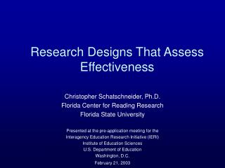 Research Designs That Assess Effectiveness