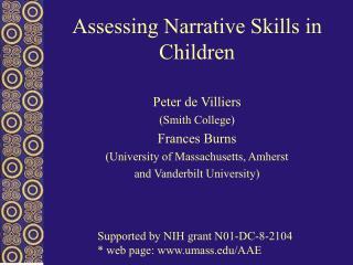 Assessing Narrative Skills in Children