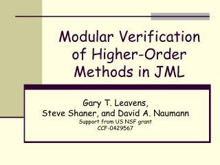 Modular Verification of Higher-Order Methods in JML