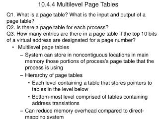 10.4.4 Multilevel Page Tables