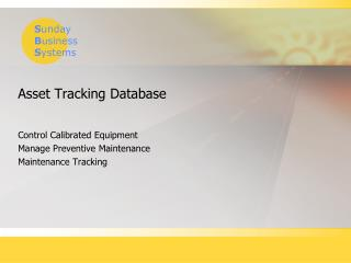 Asset Tracking Database