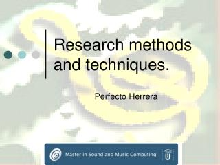 Research methods and techniques.