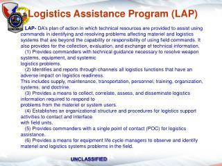 Logistics Assistance Program LAP