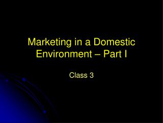 Marketing in a Domestic Environment