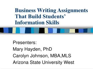 Business Writing Assignments That Build Students  Information Skills