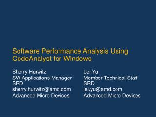 Software Performance Analysis Using CodeAnalyst for Windows