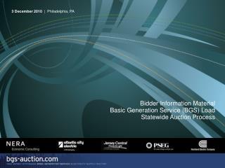 p 1 Bidder Information Material . Basic Generation Service BGS ...