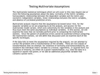 Testing Multivariate Assumptions