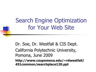 search engine optimization for your web site