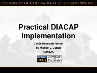Practical DIACAP Implementation
