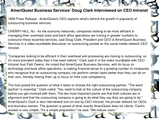 AmeriQuest Business Services' Doug Clark Interviewed