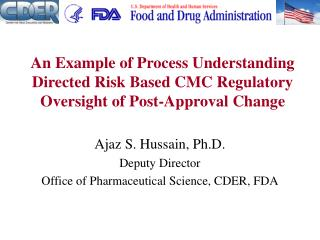 An Example of Process Understanding Directed Risk Based CMC ...
