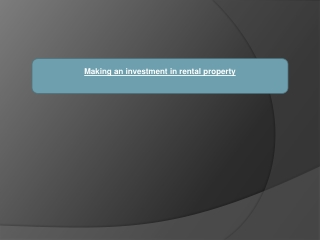 Making an investment in rental property