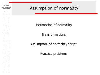 Assumption of normality