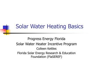 Solar Water Heating Basics