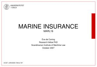 MARINE INSURANCE MARL16