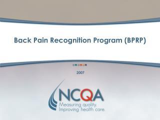 Back Pain Recognition Program BPRP