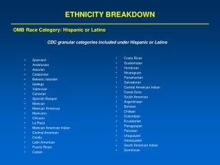 ETHNICITY BREAKDOWN