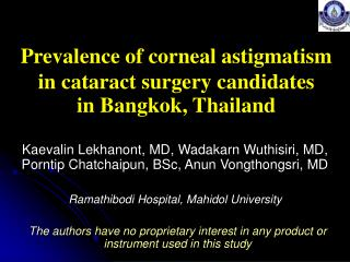 Prevalence of corneal astigmatism in cataract surgery candidates  in Bangkok, Thailand