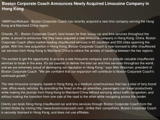 Boston Corporate Coach Announces Newly Acquired Limousine Co