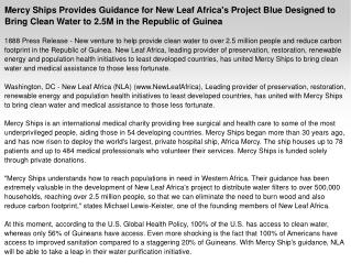 Mercy Ships Provides Guidance for New Leaf Africa's Project