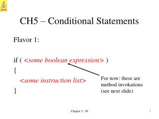 CH5   Conditional Statements
