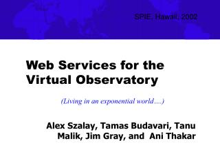 Web Services for the Virtual Observatory
