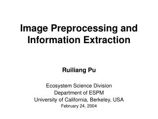 Image Preprocessing and Information Extraction