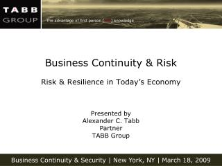 Business Continuity  Risk Risk  Resilience in Today
