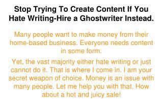 Ghostwriting and PLR Sale