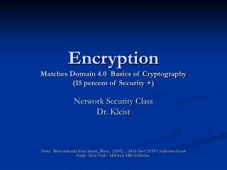 Encryption Matches Domain 4.0  Basics of Cryptography  15 percent of Security