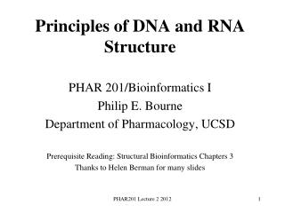 Principles of DNA and RNA Structure