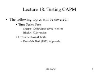 Lecture 18: Testing CAPM
