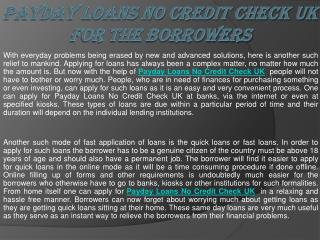 Payday Loans No Credit Check UK
