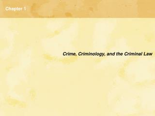 What is Criminology