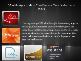 5 Mobile Apps to Make Your Business More Productive in 2003