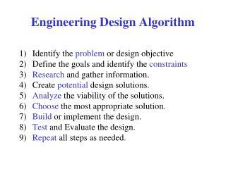 Engineering Design Algorithm
