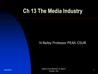 Ch 13 The Media Industry