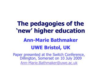 The pedagogies of the