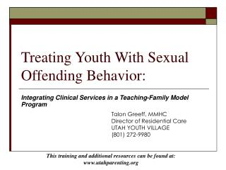 Treating Youth With Sexual Offending Behavior:
