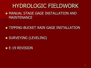 HYDROLOGIC FIELDWORK