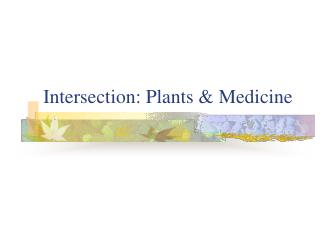 intersection: plants  medicine