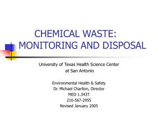 CHEMICAL WASTE: MONITORING AND DISPOSAL