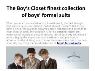 The Boy's Closet finest collection of boys' formal suits