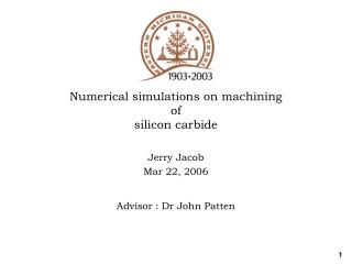 Numerical simulations on machining  of  silicon carbide