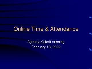 Online Time  Attendance