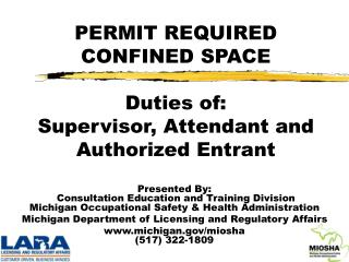 PERMIT REQUIRED CONFINED SPACE Duties of: Supervisor ...